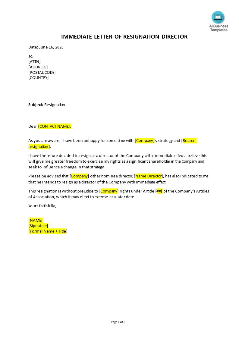 Immediate Resignation Letter Templates At Allbusinesstemplates Com