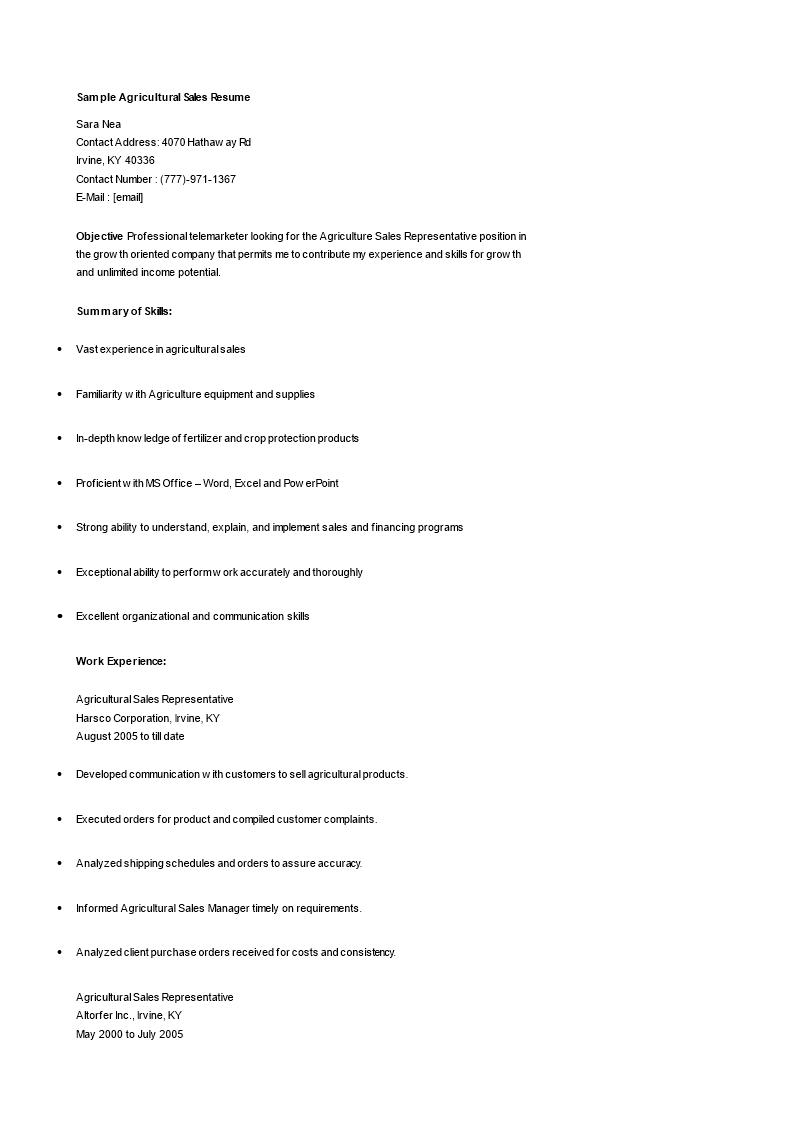 Gratis Agriculture Sales Resume