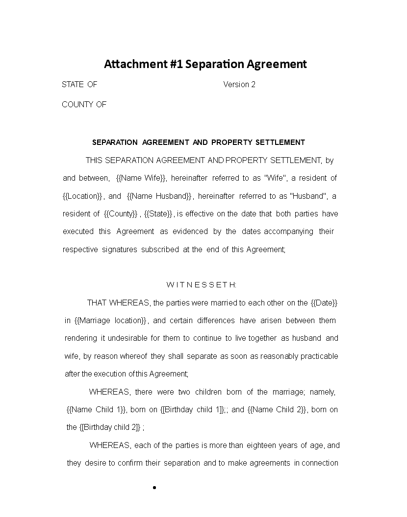 Free Separation Agreement Property Settlement Templates At