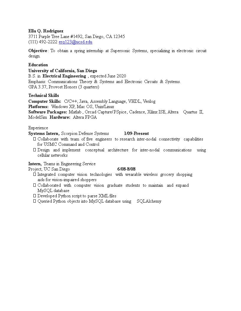 Electrical Engineering Internship Position CV | Templates at