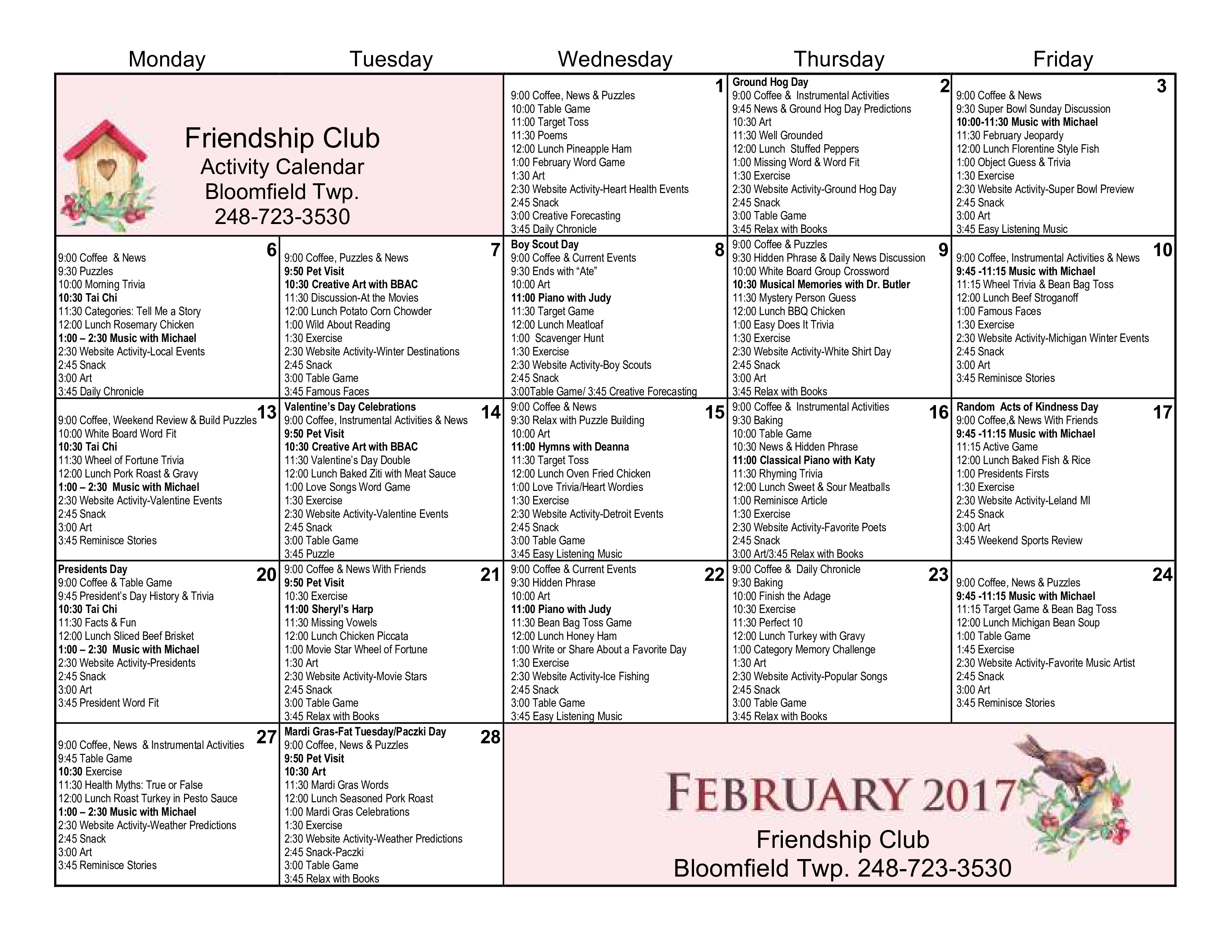 Free Club Activity Calendar Templates At Allbusinesstemplates Com
