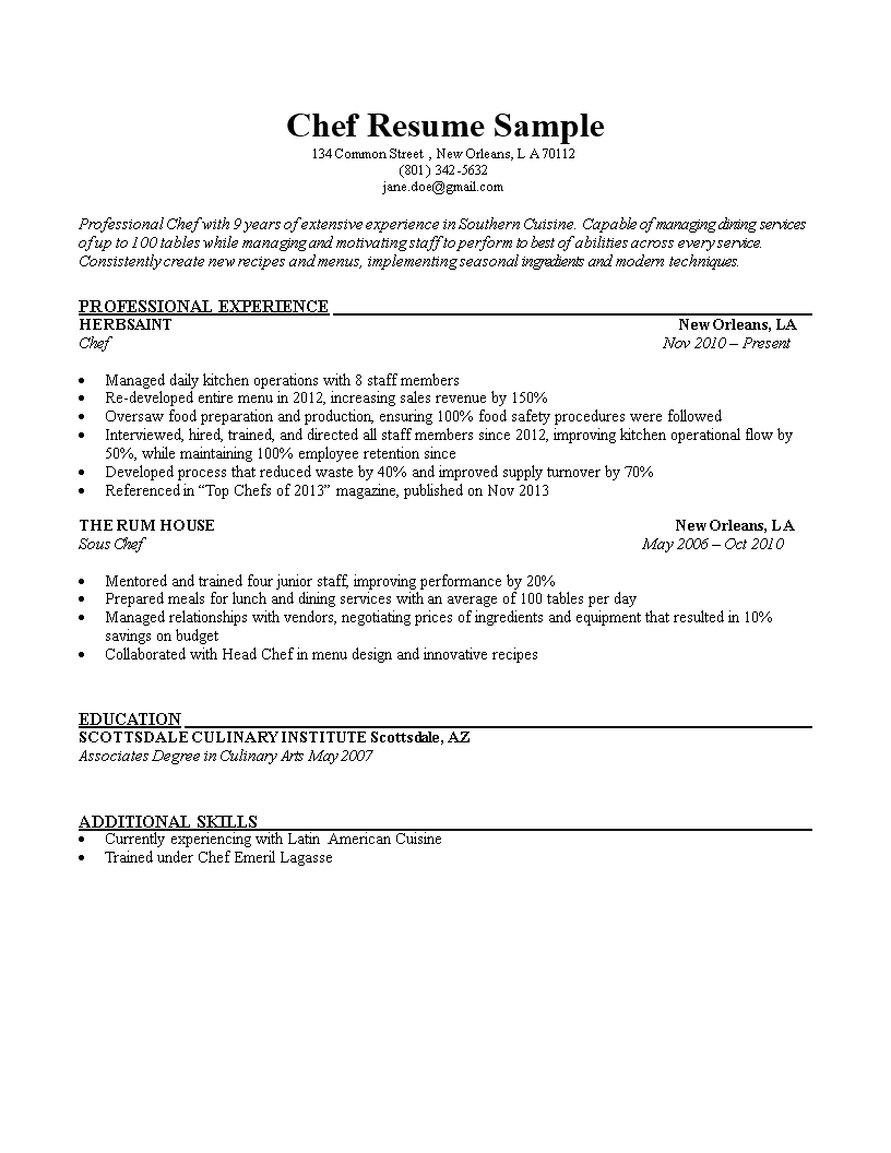 Chef Resume Sample Main Image  Head Chef Resume
