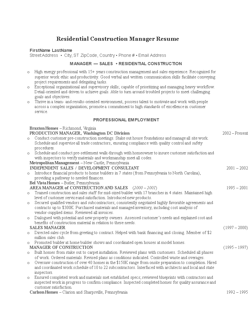 Residential Construction Manager Resume Main Image