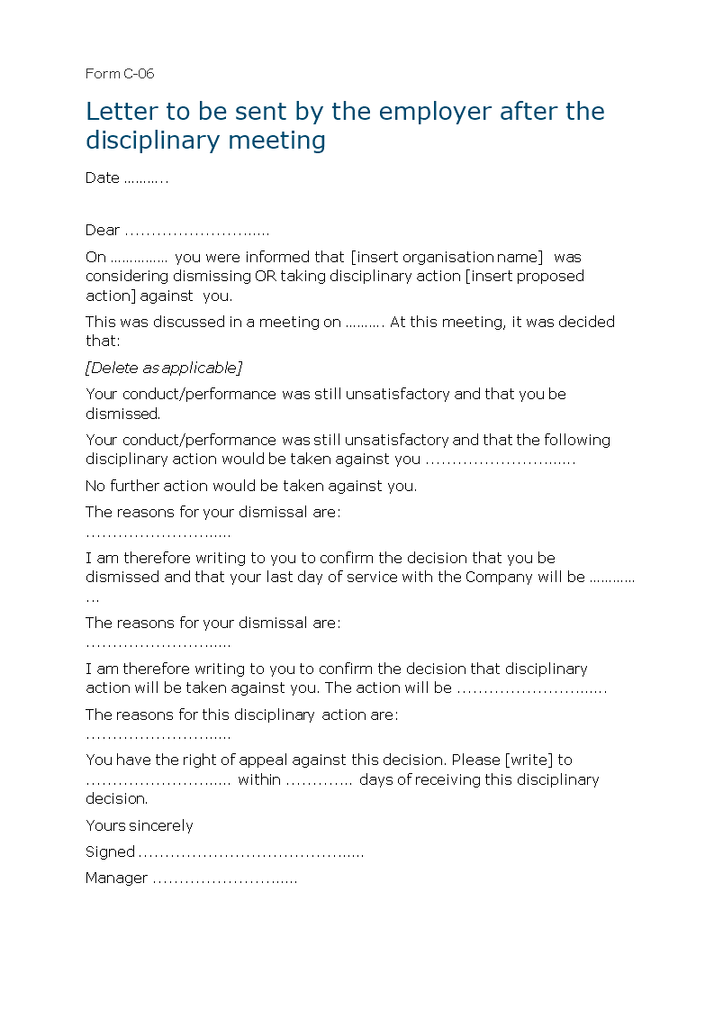 Free Letter of Employee Disciplinary Action Meeting Templates at