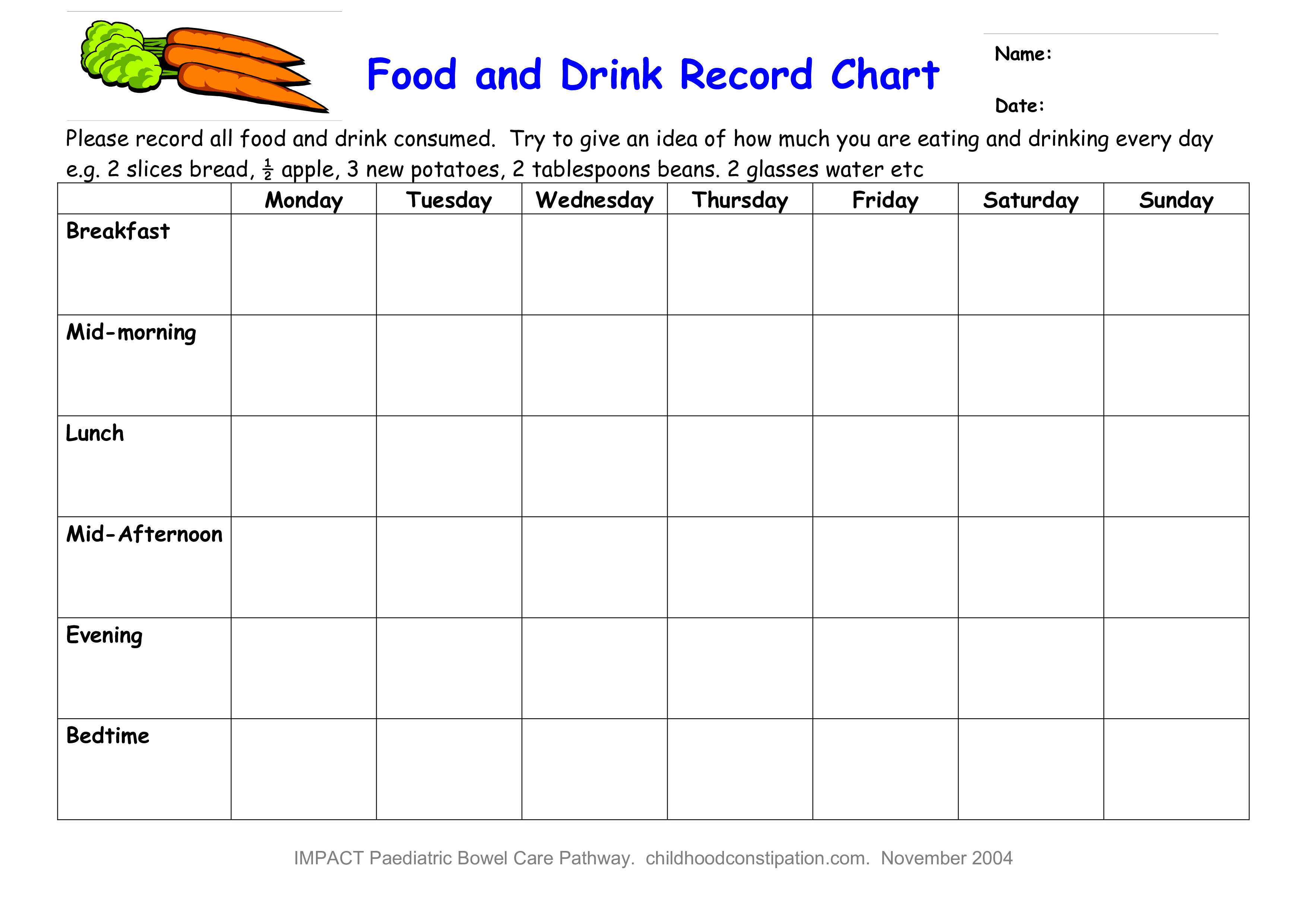 free food and drink record chart templates at