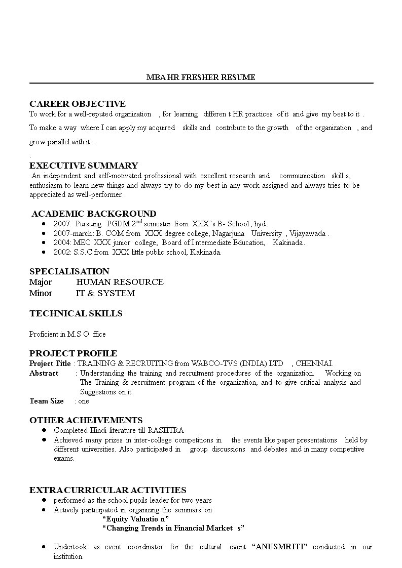 Free Hr Fresher Resume Example Templates At Allbusinesstemplates Com