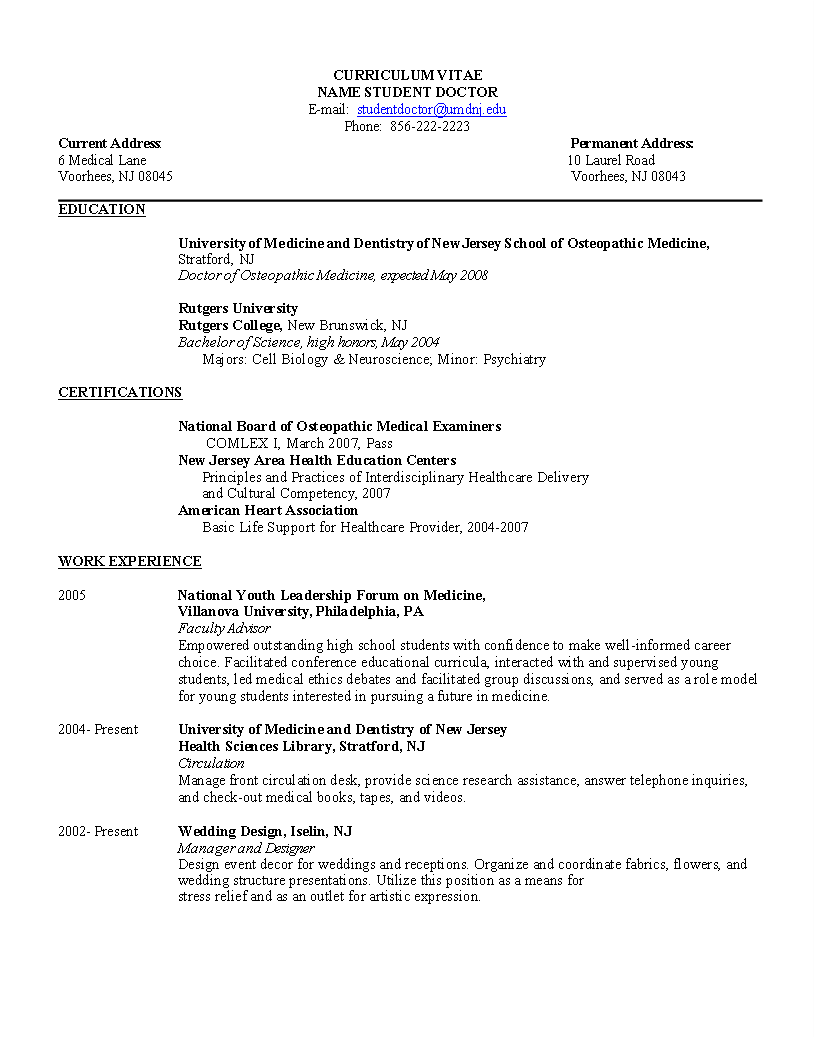 student doctor resume