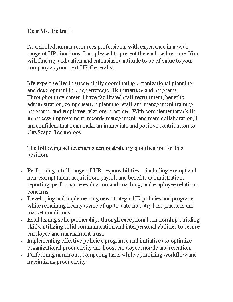 Hr Generalist Job Application Letter Templates At Allbusinesstemplates Com