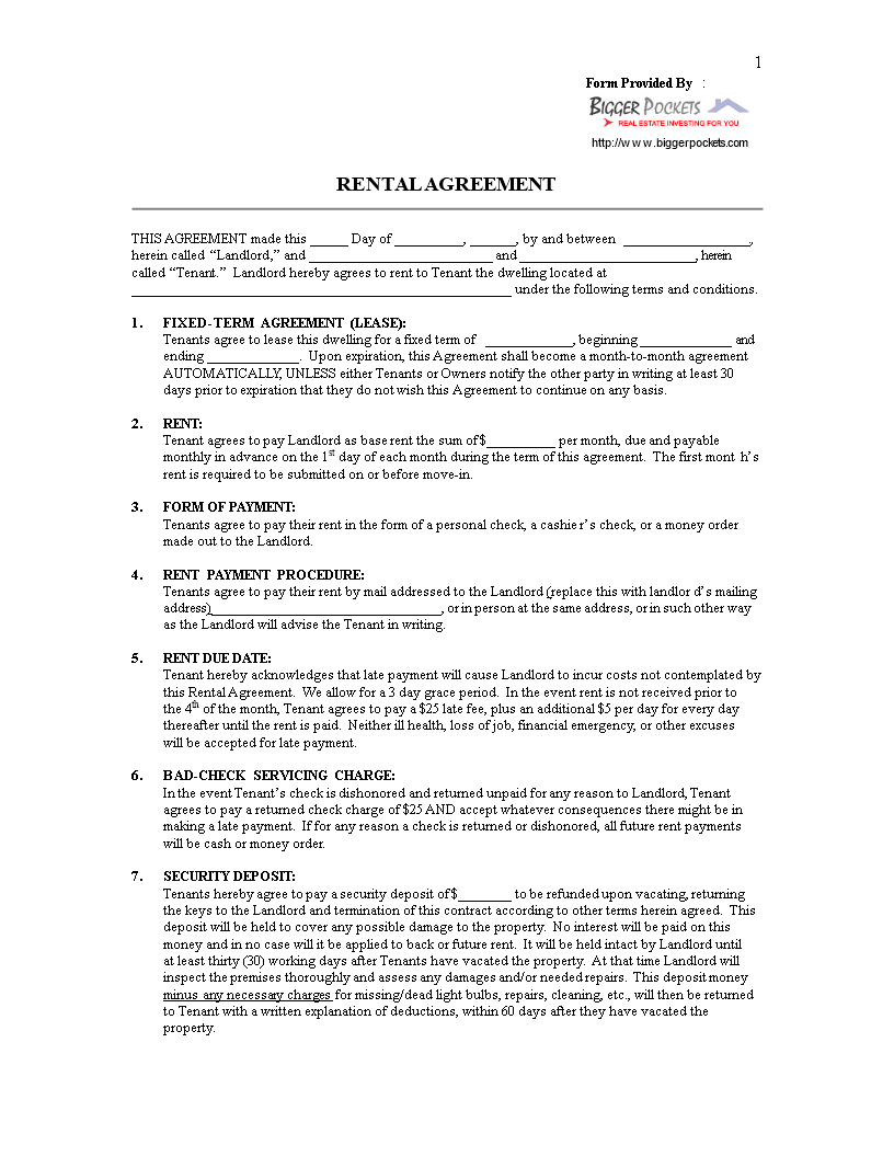 Libreng Blank Printable Lease Agreement