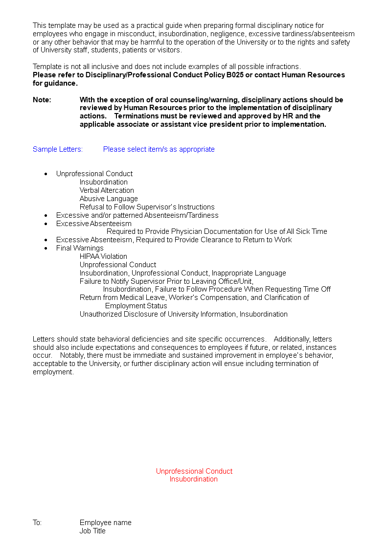 Free Safety Breach Warning Letter | Templates at ...