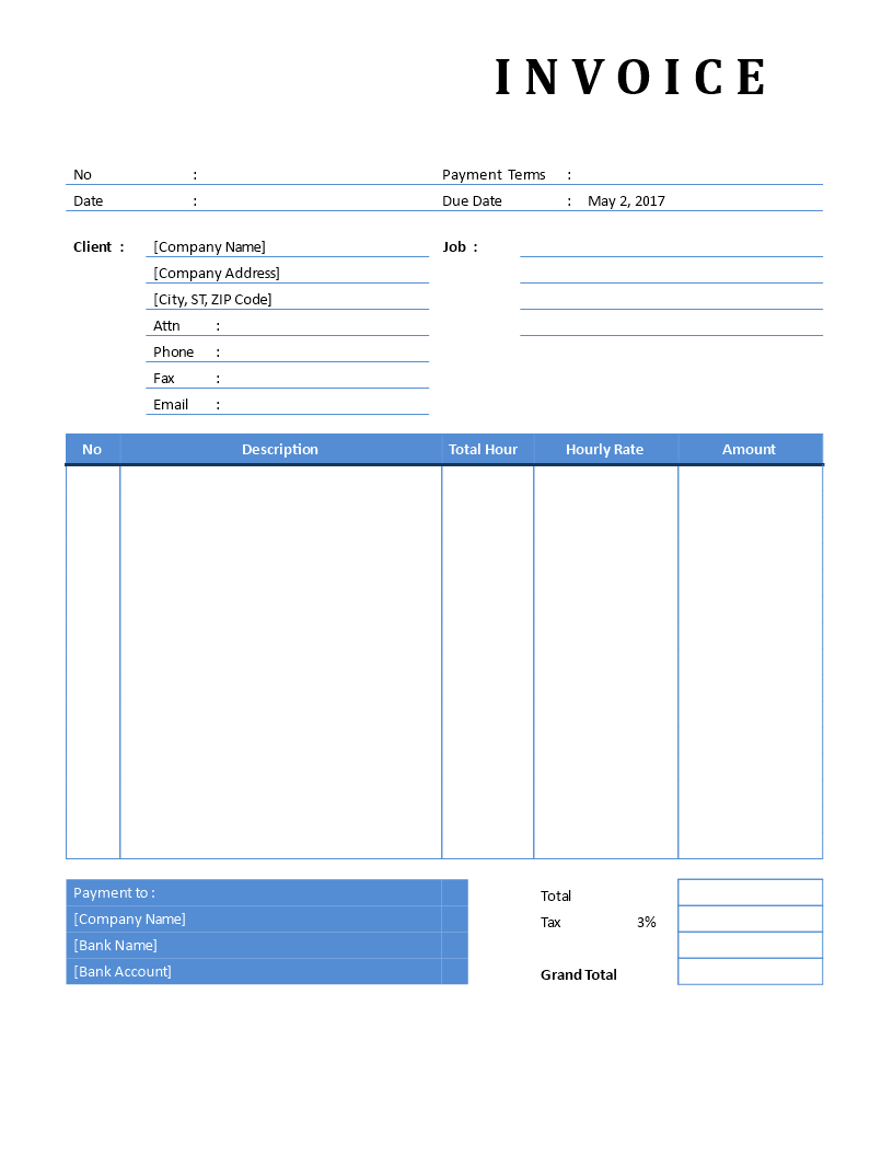 Freelance Invoice Hourly Service