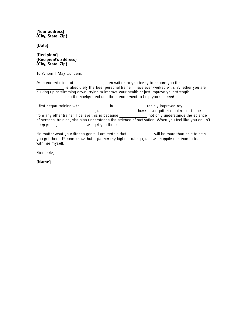Free Personal Trainer Letter Of Recommendation Templates At