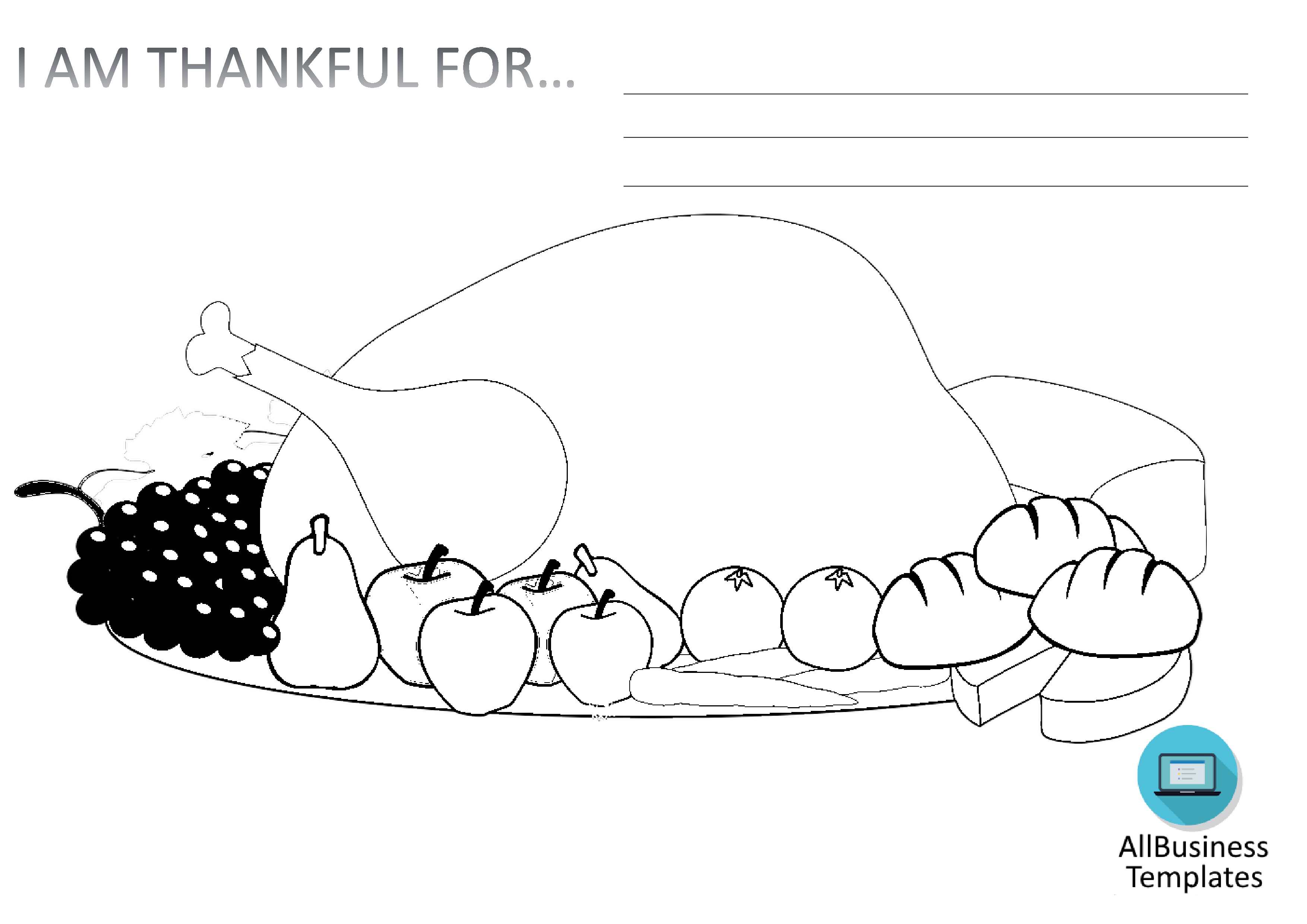 Printable thank you drawing Thanskgiving main image