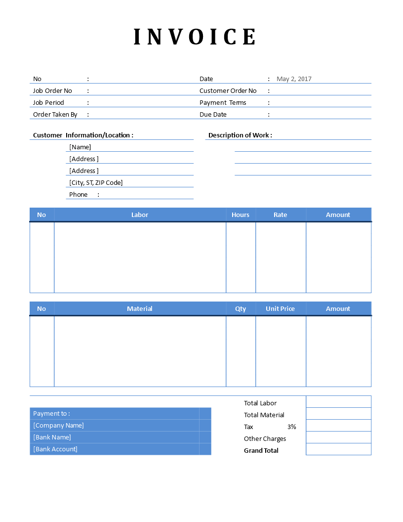 Free Basic plumbing Invoice | Templates at allbusinesstemplates.com