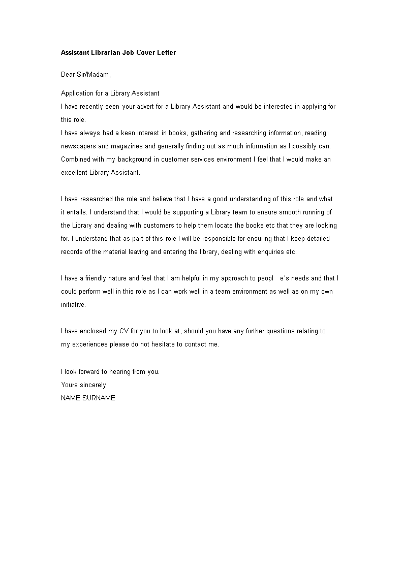 Assistant Librarian Job Cover Letter | Templates at ...