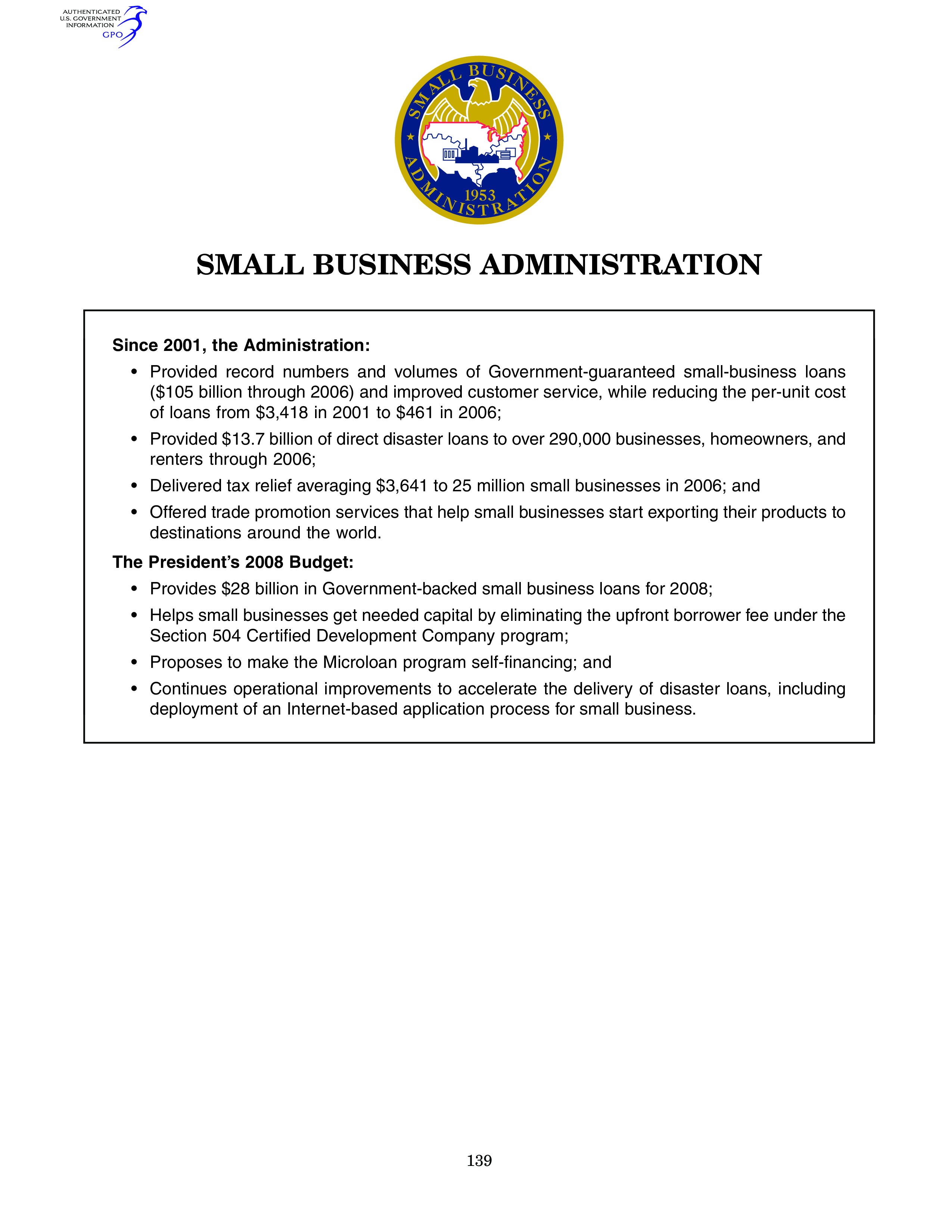 Small Business Administration Budget main image
