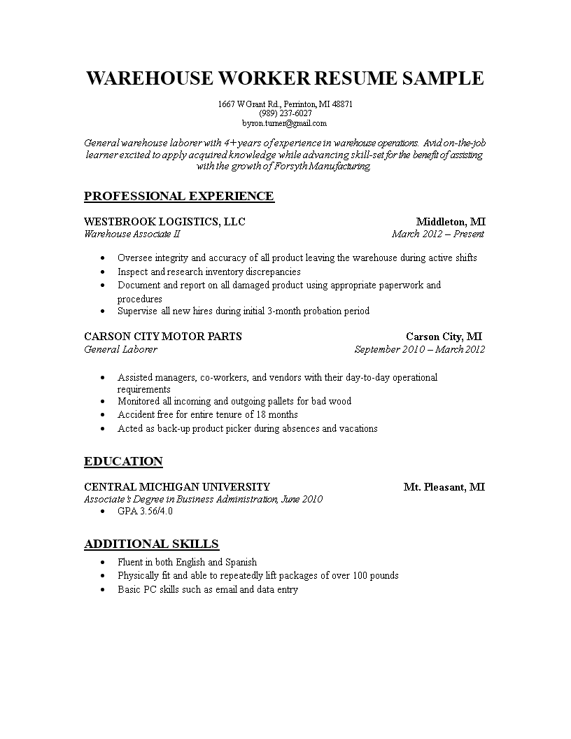 Warehouse Worker Resume Fascinating Free Warehouse Worker Resume Templates At Allbusinesstemplates