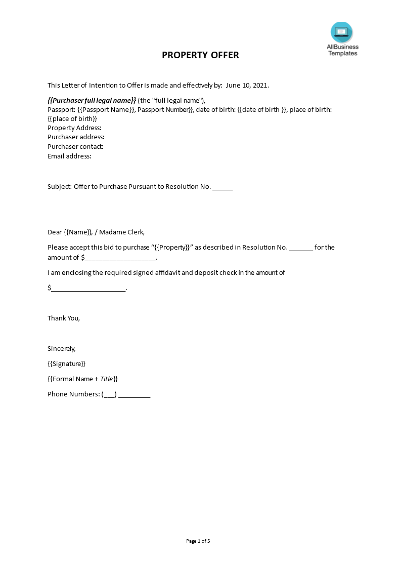 Free Sample Offer Letter For Selling A House Templates At - Template for selling a house