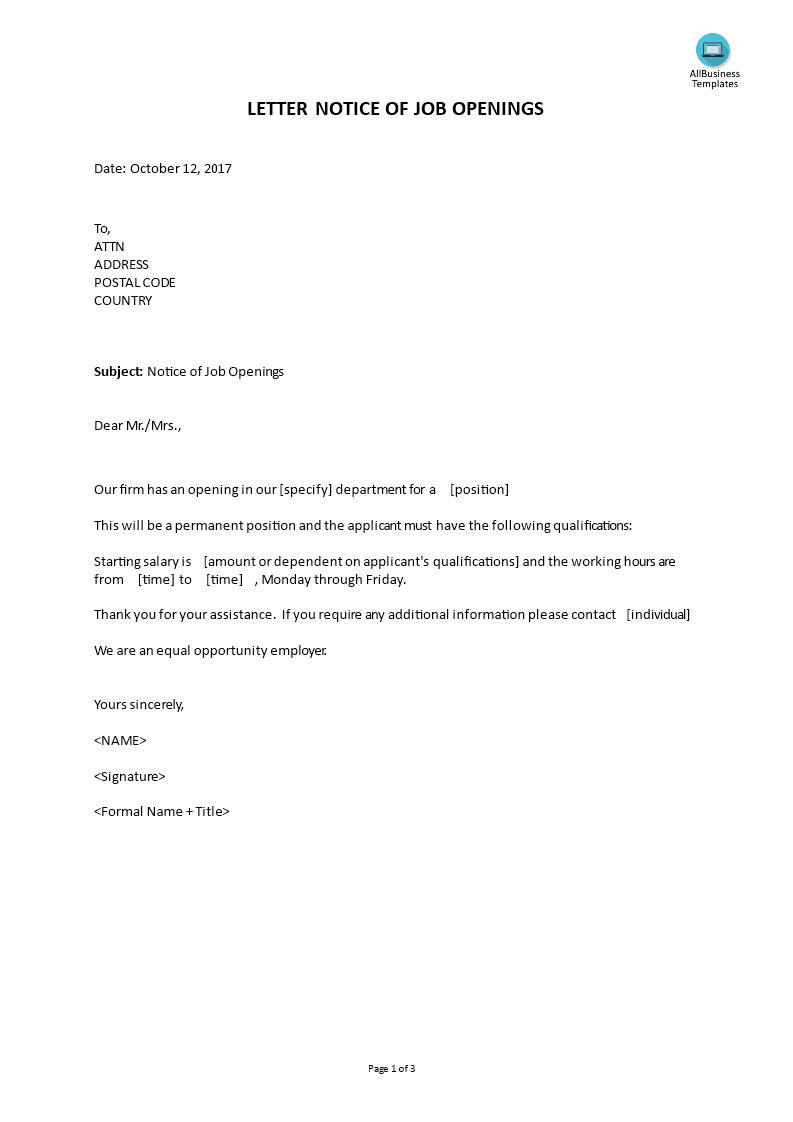 Letter notice of job opening templates at allbusinesstemplates letter notice of job opening main image get template cheaphphosting Gallery