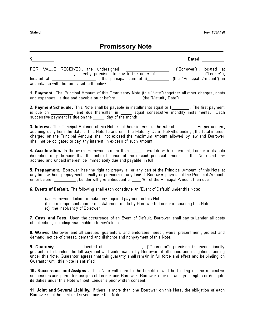 Free Promissory Note Installment Payment Clean Unsecured Templates - Promissory note with interest template