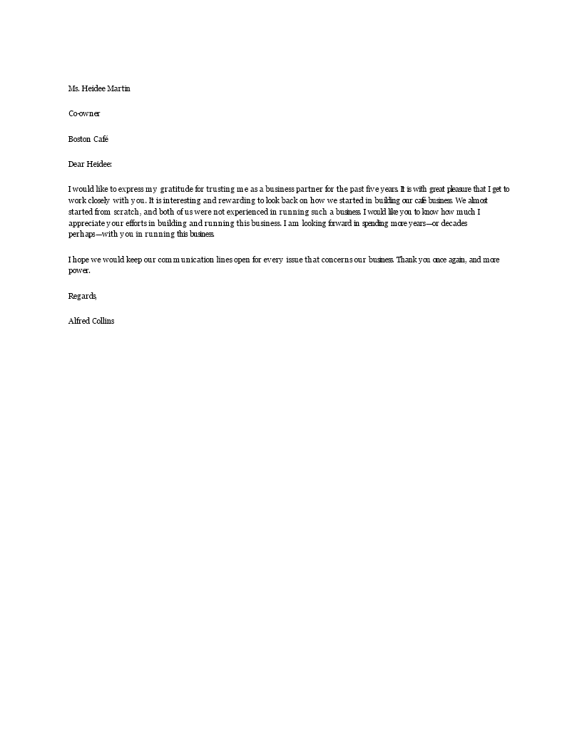 Free Business Partner Appreciation Letter Templates At