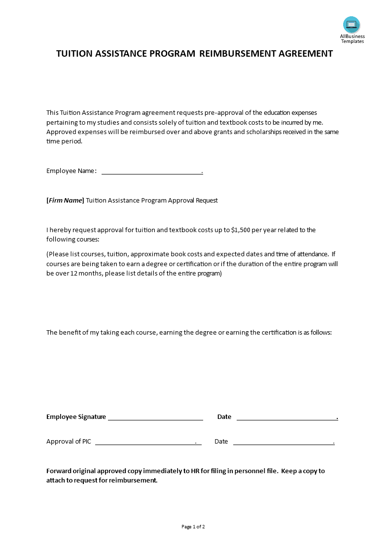 Hr tuition assistance program agreement templates at for Tuition contract template