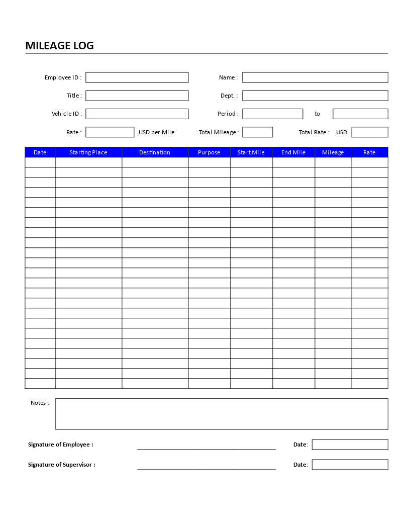 free employee mileage log template templates at. Black Bedroom Furniture Sets. Home Design Ideas