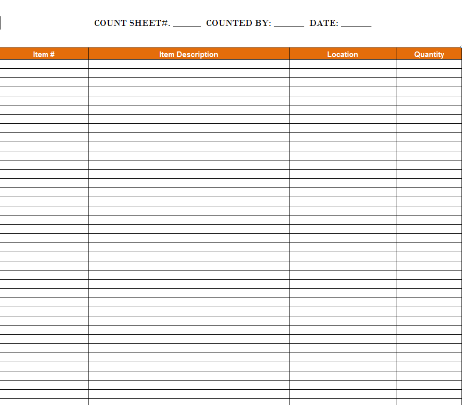 free printable inventory sheets templates at