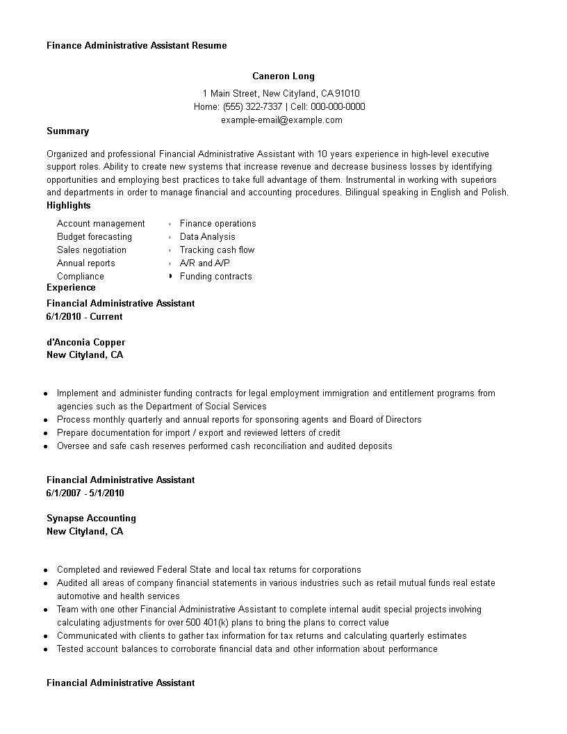 free finance administrative assistant resume templates at
