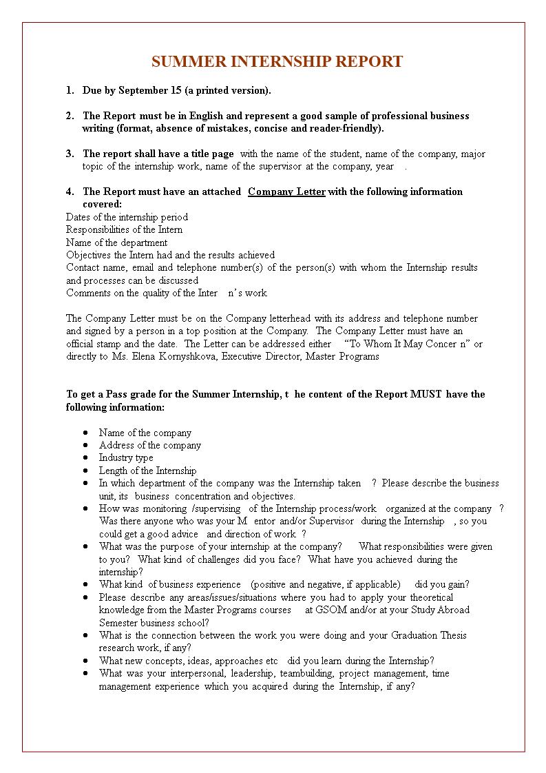 Summer Internship Report | Templates at allbusinesstemplates com