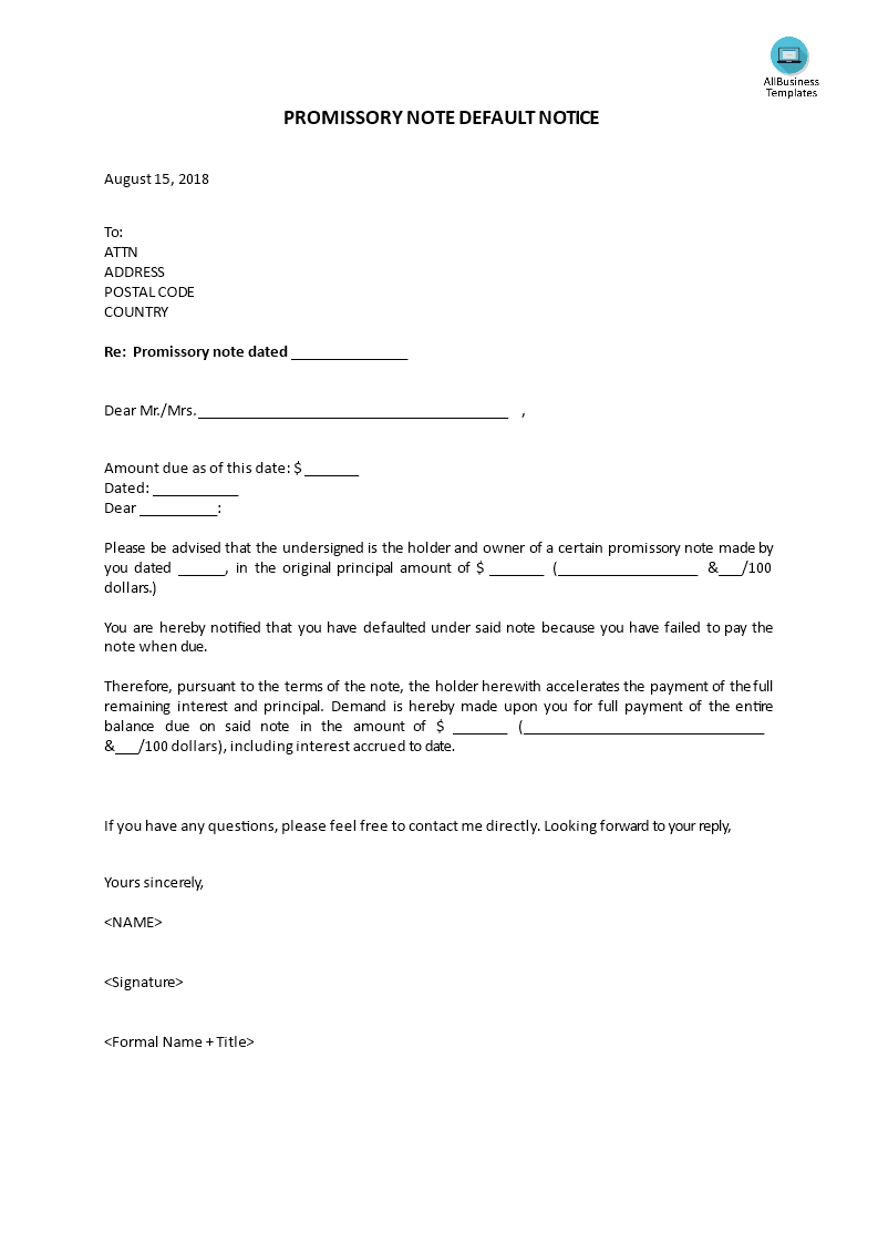 Promissory note default notice templates at allbusinesstemplates promissory note default notice main image get template maxwellsz