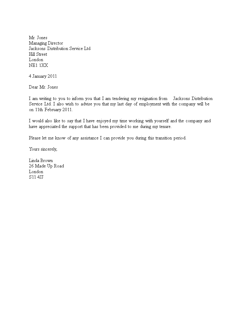 Professional Corporate Resignation Letter main image