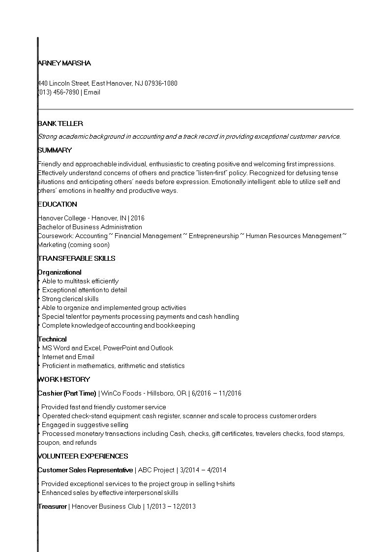 Free Entry Level Banking Job Resume Templates At