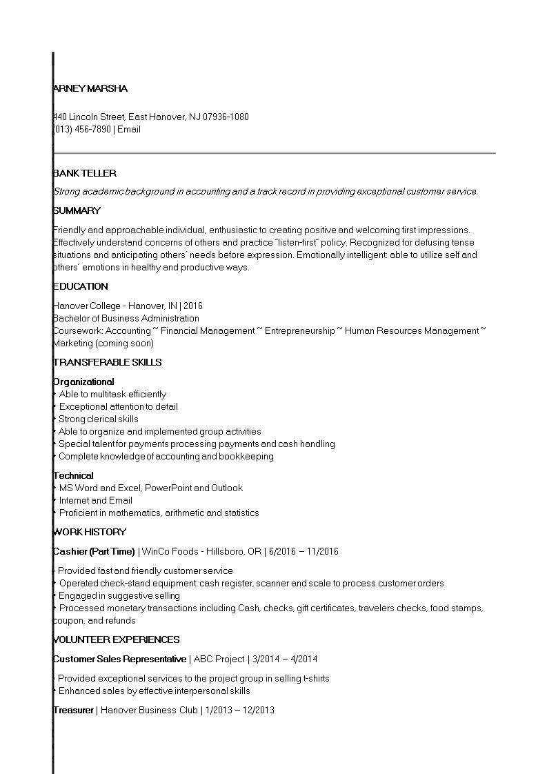 Entry Level Banking Job Resume | Templates at allbusinesstemplates