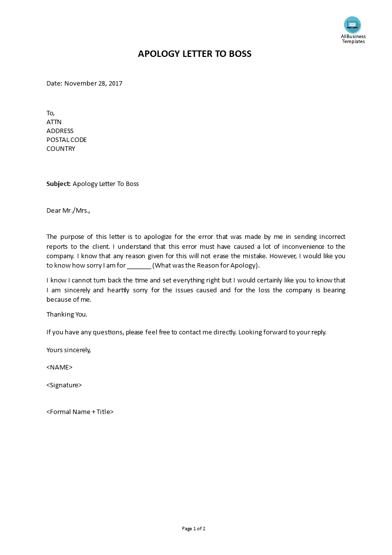 Free apology letter to boss templates at allbusinesstemplates apology letter to boss main image thecheapjerseys Image collections