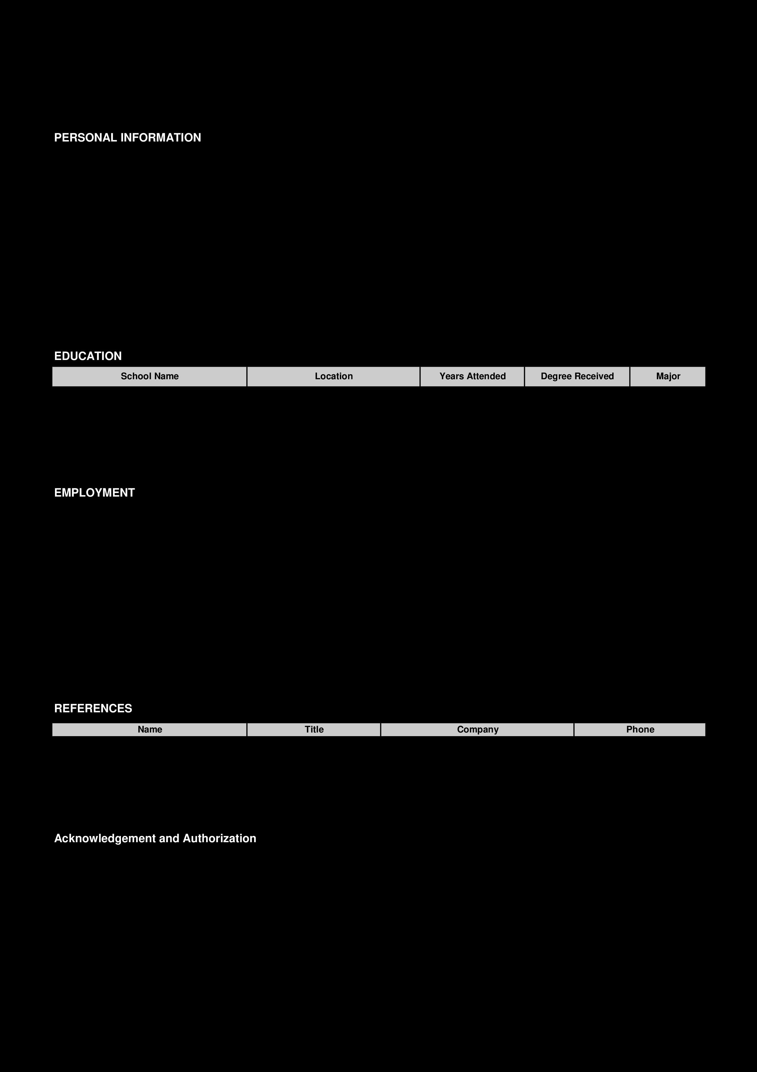 Simple Job Application Form Templates At