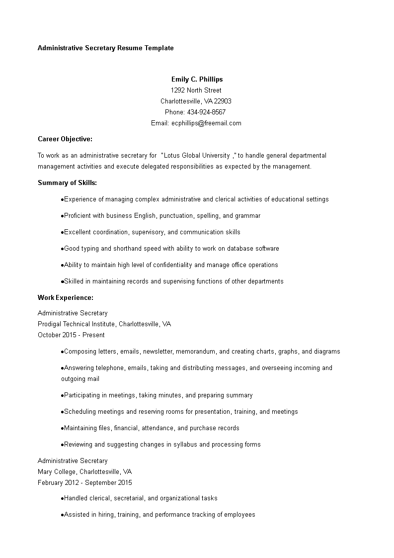 Free Administrative Resume Templates At Allbusinesstemplates
