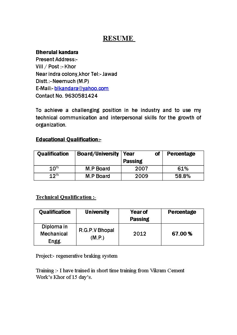 diploma fresher resume format