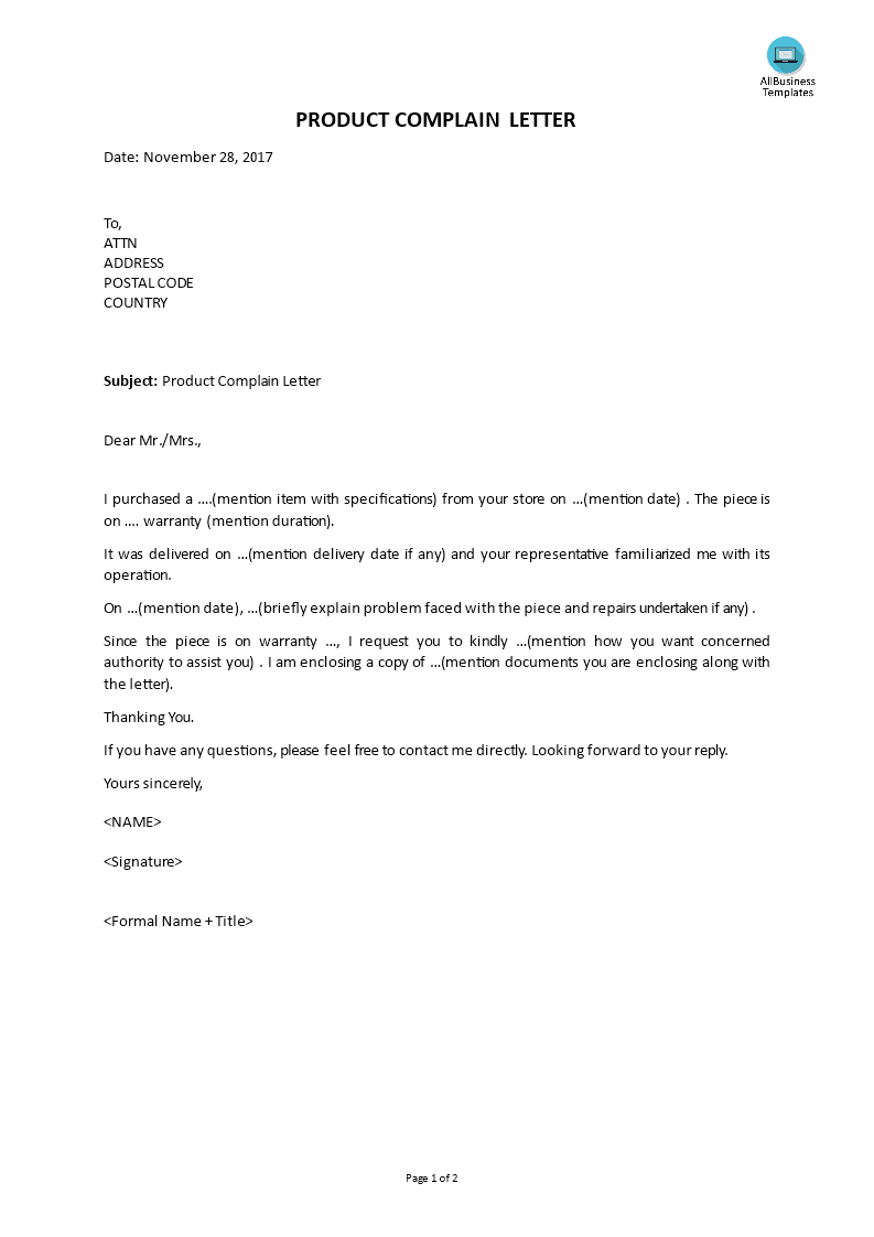 Free product complaint letter templates at allbusinesstemplates altavistaventures Image collections