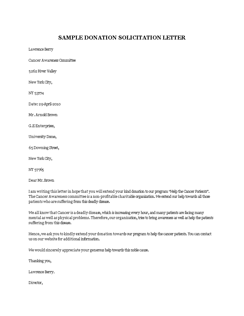 Free donation solicitation letter templates at donation solicitation letter main image altavistaventures Images