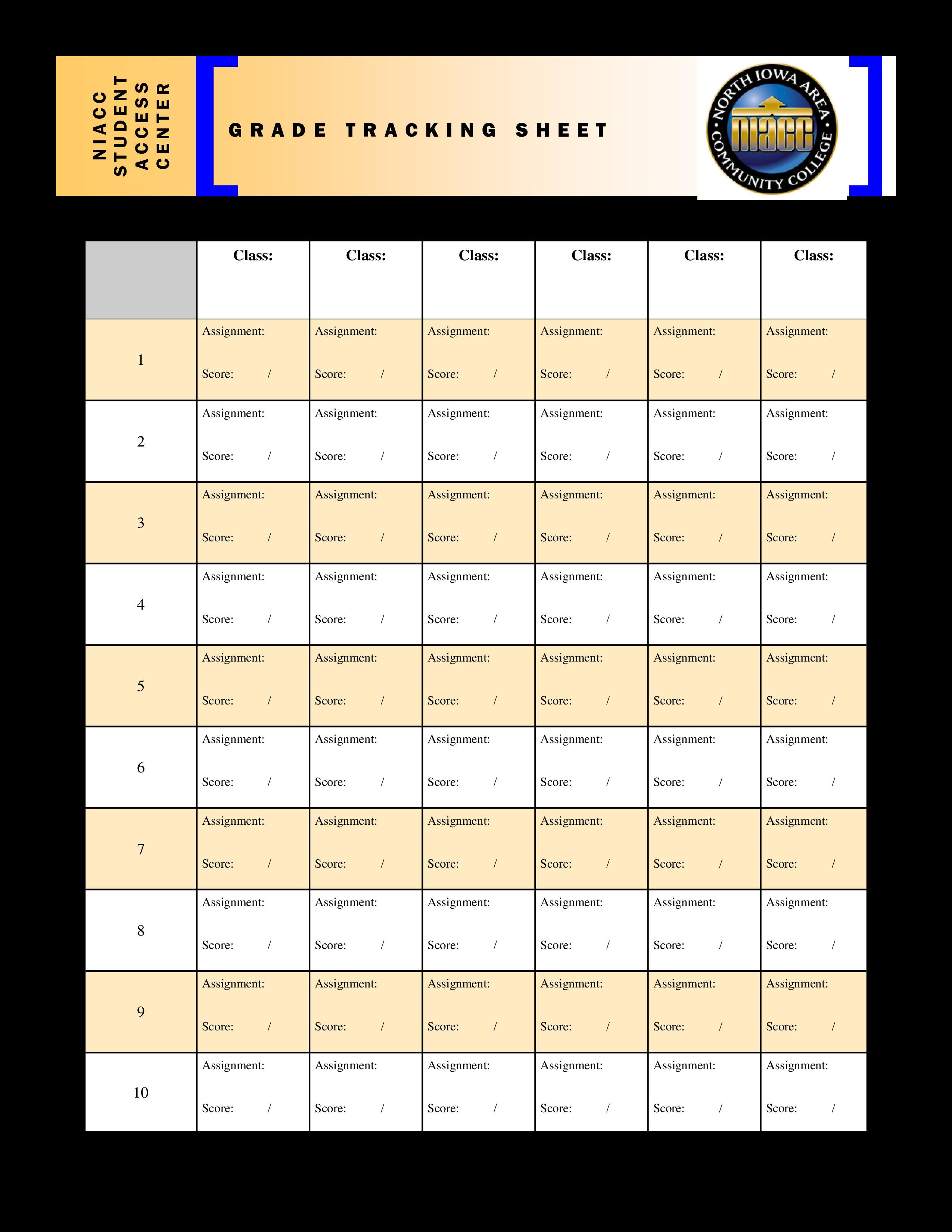 Free Grade Tracking Sheet Templates At Allbusinesstemplatescom - Tracking sheet template