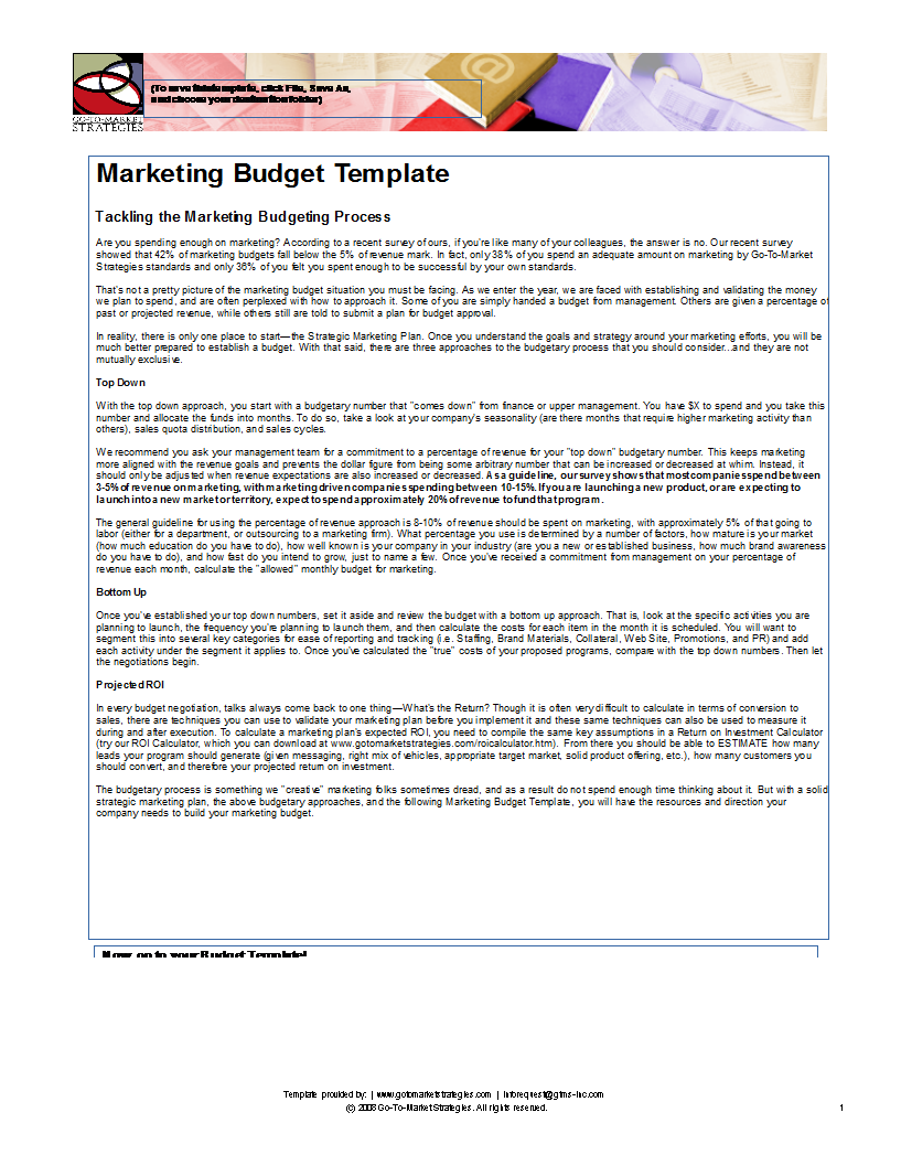 Marketing Budget Excel main image