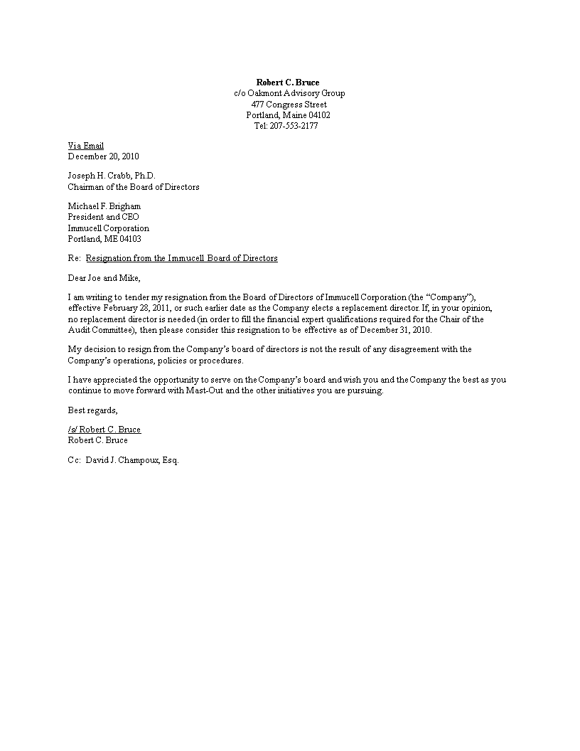 resign from board of directors letter