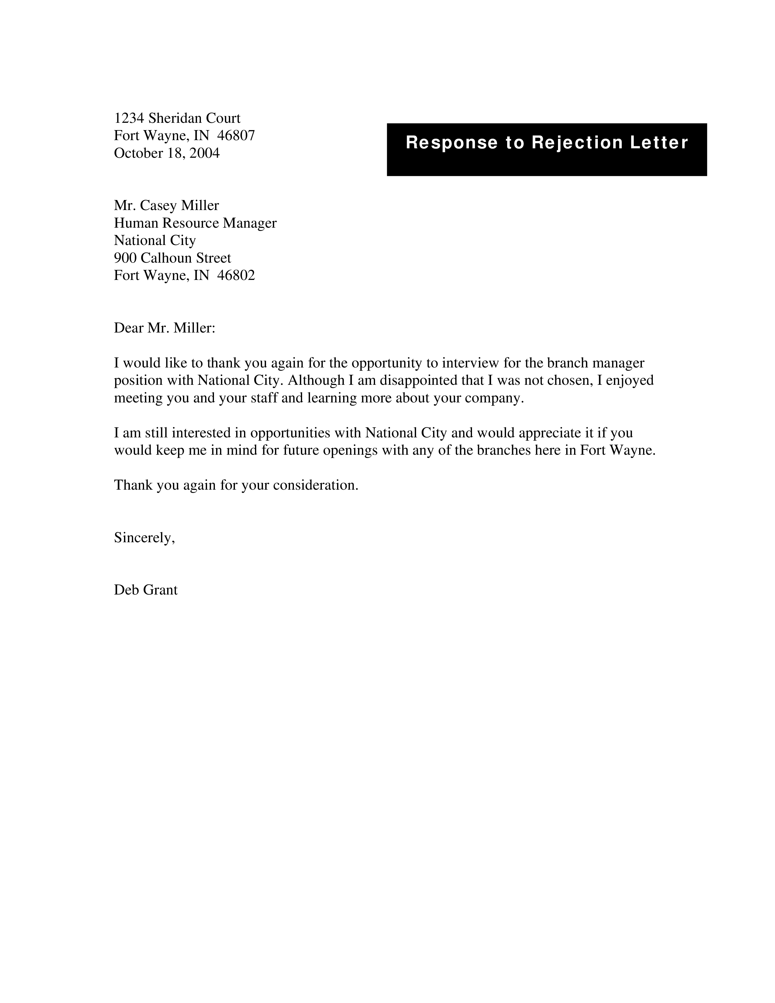 Free Rejection Tender Letter Templates At Allbusinesstemplates Com