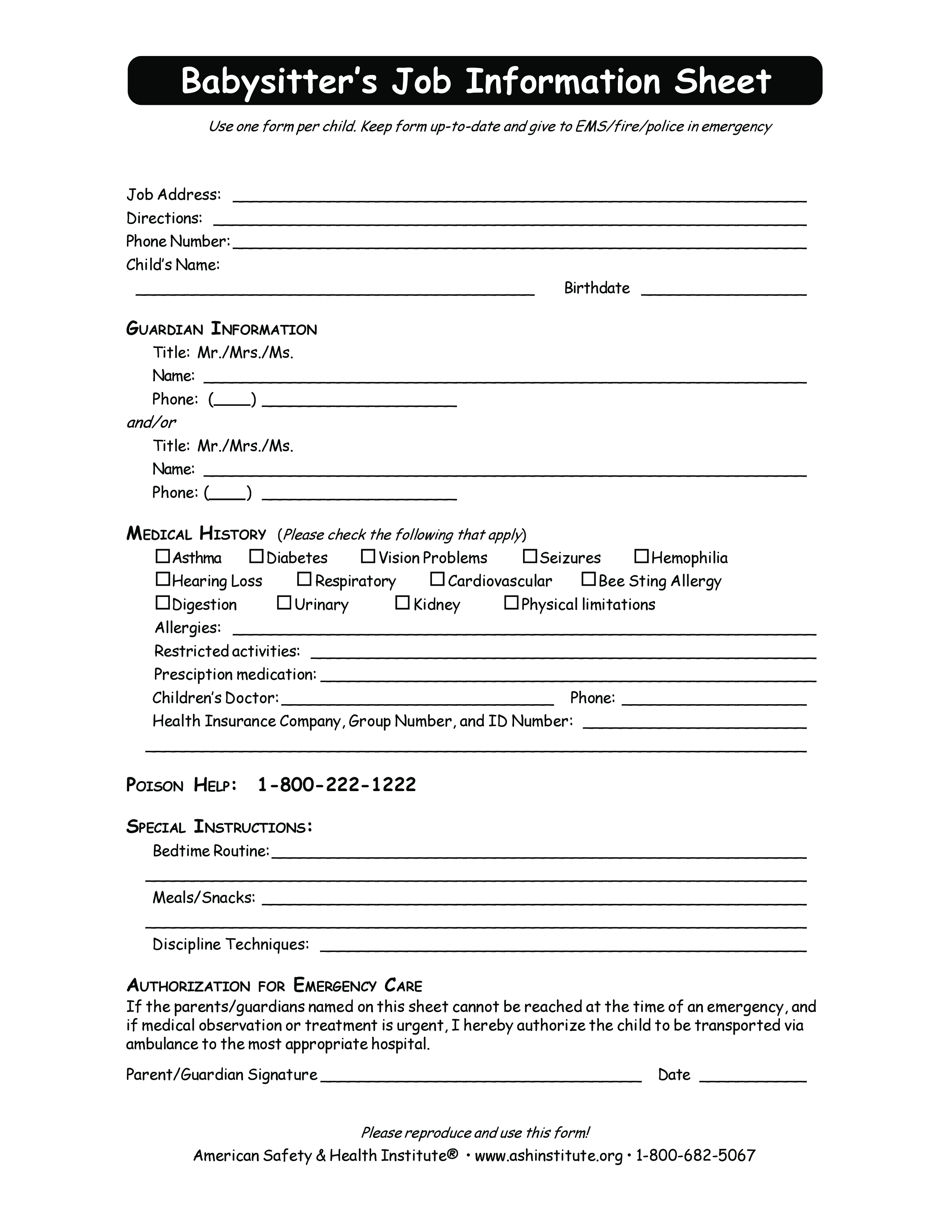 free babysitter job information sheet templates at