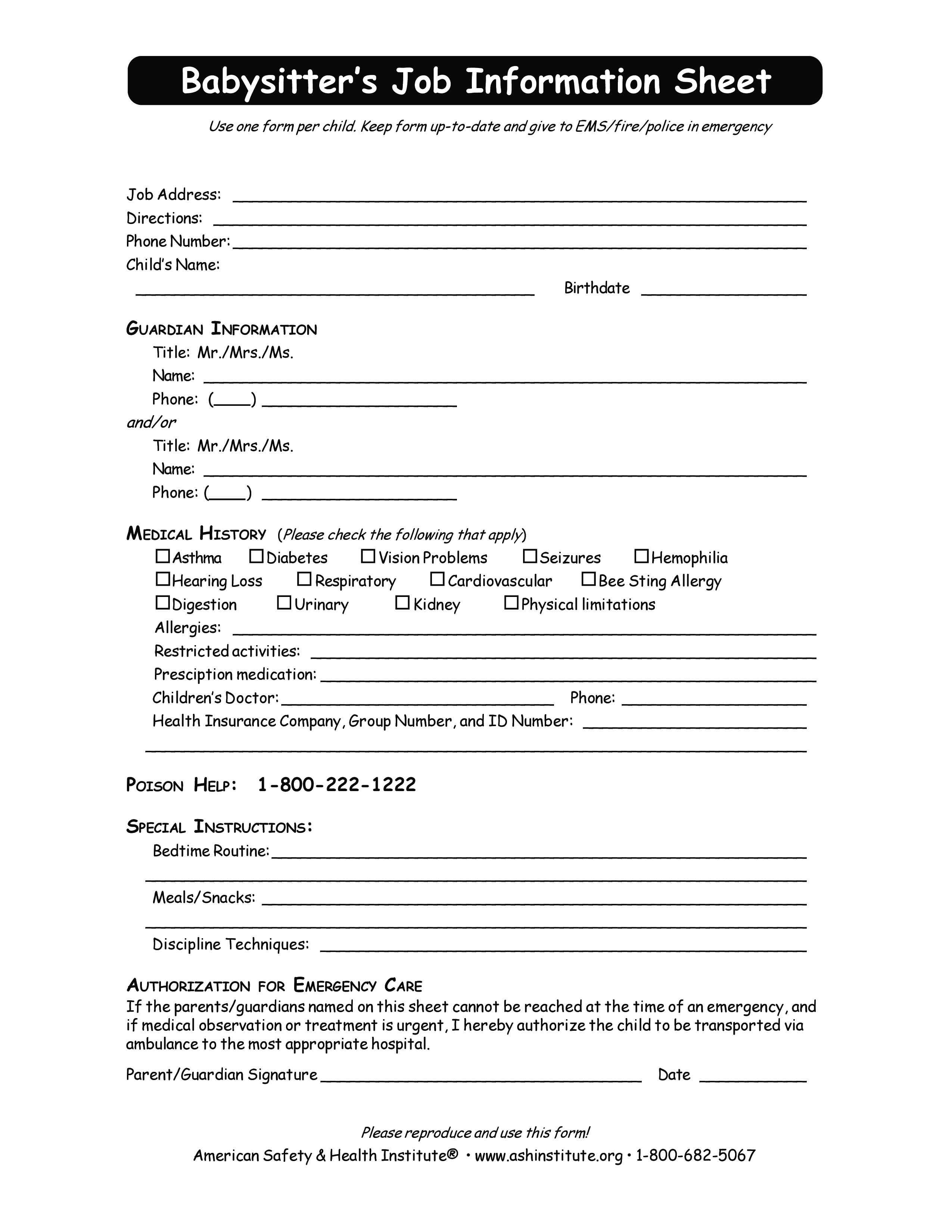 Free Babysitter Job Information Sheet Templates At