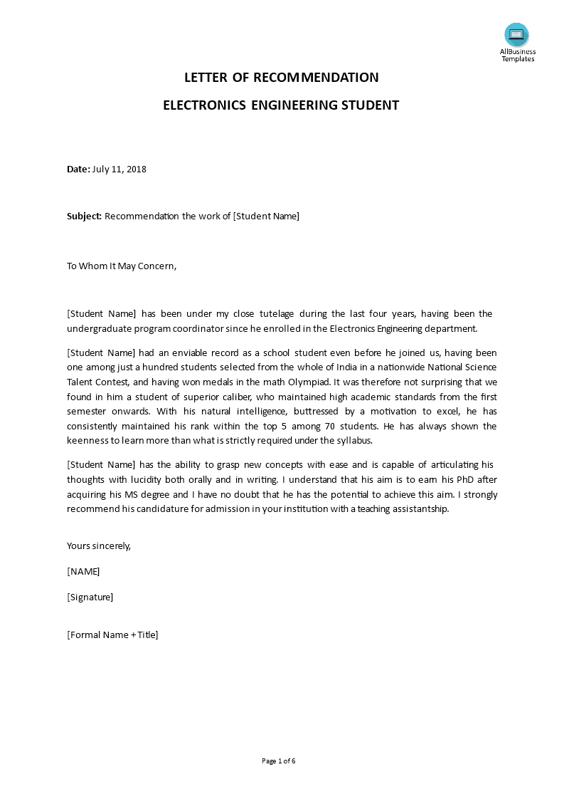 Free Electro Engineer Letter Of Recommendation Templates At