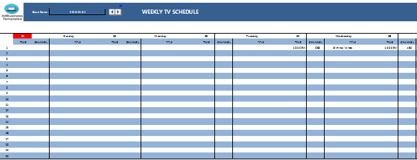 TV schedule Excel template   Templates at