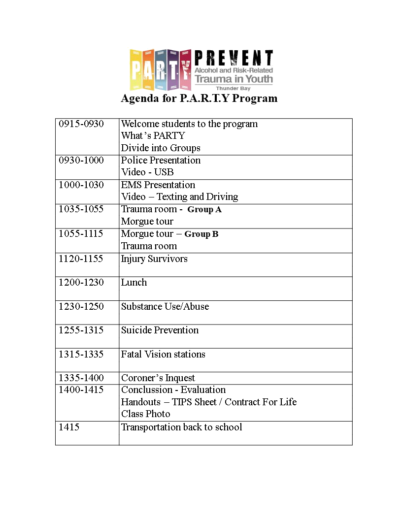 free agenda for a party program templates at