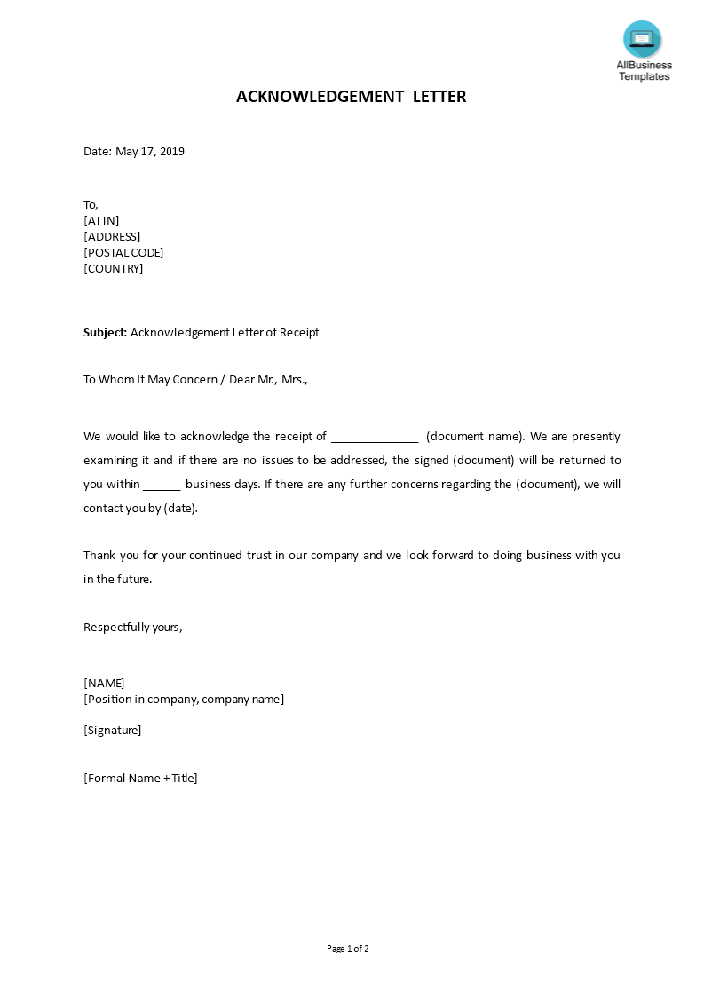 sample acknowledgment letter of receipt